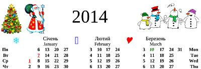 Вигляд календаря на 2014 рік